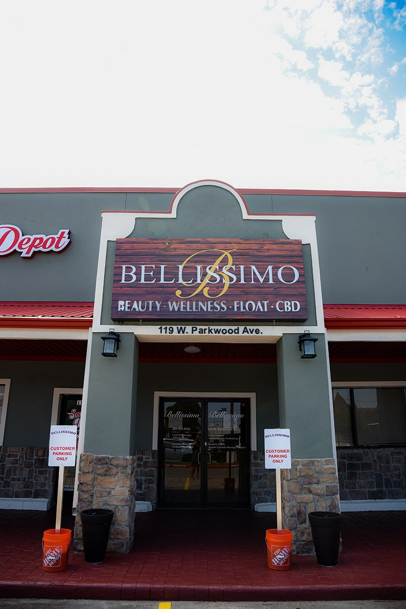 texas station exterior of building 1 bellissimo sign