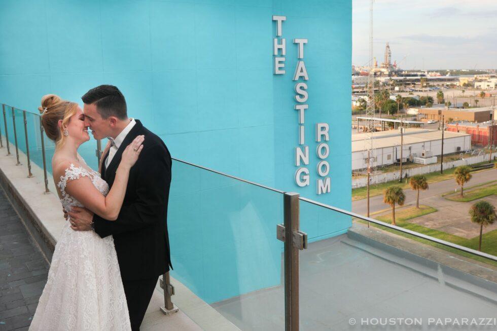 wedding couple at tasting room