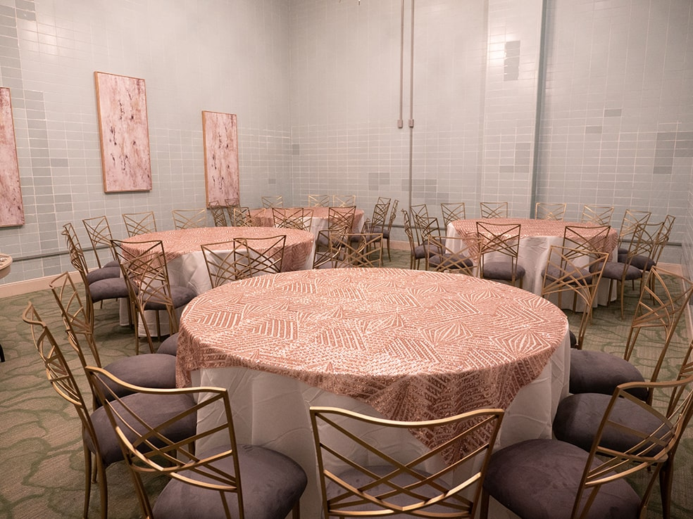 events at the tasting room dining hall pink