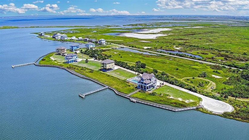 galveston bay house aerial view