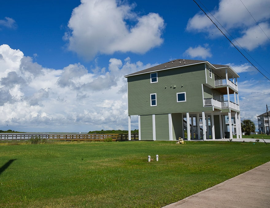 house and yard in galveston bay